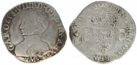 France 1 Teston 1562 M Charles XI (1560-1574). Touluose. Av: CAROLVS VIIII D G FRAN REX. Laureate and armored bust on the left. Rv: + SIT NOMEN DOM BE...
