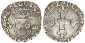 France 1/8 Ecu 1587 L Henry III (1574-1589) 1/8 Ecu 1587 L Bayonne Av.:Lily cross Rv.: Crowned lily crest between V-III. Silver. Sombart: 4664