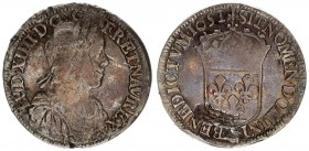 France 1/2 Ecu 1651 A Louis XIV(1643-1715). Averse: Bust with long curl. Reverse: Crowned arms of France. Silver. Scratches. KM 164.1