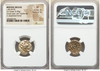 BRITAIN. Belgae. Ca. 80-50 BC. AV stater (18mm, 5.99 gm, 2h). NGC VF 4/5 - 3/5. Chute type. Degraded wreathed head of Apollo right, heavy spike across...
