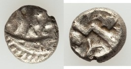 BRITAIN. Durotriges. Ca. 58 BC-AD 43. AR quarter-stater (10mm, 1.14 gm, 9h). VF. 'Three men in a boat' design; pellet rosette to left / Zigzag thunder...