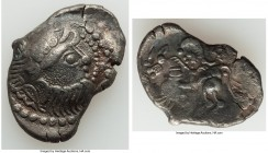 EASTERN EUROPE. Ca. 2nd-1st centuries BC. AR didrachm (29mm, 8.36 gm, 6h). Choice VF. Kapostaler type. Celticized, laureate and bearded head of Zeus r...