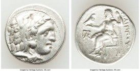 MACEDONIAN KINGDOM. Philip III Arrhidaeus (323-317 BC). AR drachm (18mm, 4.29 gm, 11h). VF. 'Colophon', ca. 323-319 BC. Head of Heracles right, wearin...