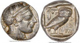 ATTICA. Athens. Ca. 465-455 BC. AR tetradrachm (24mm, 17.17 gm, 2h). NGC VF 5/5 - 3/5. light scratches. Head of Athena right, wearing crested Attic he...