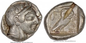 ATTICA. Athens. Ca. 465-455 BC. AR tetradrachm (25mm, 17.17 gm, 9h). NGC Choice Fine 5/5 - 2/5, test cut. Head of Athena right, wearing crested Attic ...