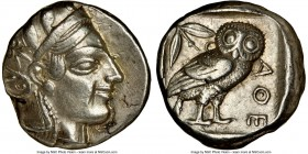 ATTICA. Athens. Ca. 455-440 BC. AR tetradrachm (23mm, 17.15 gm, 11h). NGC XF 4/5 - 4/5. Early transitional issue. Head of Athena right, wearing creste...