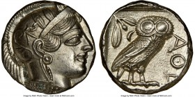 ATTICA. Athens. Ca. 440-404 BC. AR tetradrachm (23mm, 17.12 gm, 10h). NGC MS 5/5 - 4/5, brushed. Mid-mass coinage issue. Head of Athena right, wearing...