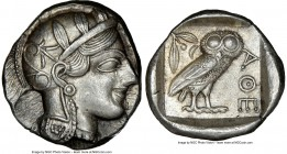 ATTICA. Athens. Ca. 440-404 BC. AR tetradrachm (25mm, 17.21 gm, 3h). NGC Choice AU 5/5 - 4/5. Mid-mass coinage issue. Head of Athena right, wearing cr...