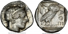 ATTICA. Athens. Ca. 440-404 BC. AR tetradrachm (26mm, 17.17 gm, 10h). NGC Choice AU 5/5 - 3/5, brushed. Mid-mass coinage issue. Head of Athena right, ...