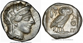 ATTICA. Athens. Ca. 440-404 BC. AR tetradrachm (24mm, 17.20 gm, 11h). NGC AU 4/5 - 5/5. Mid-mass coinage issue. Head of Athena right, wearing crested ...