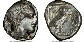 ATTICA. Athens. Ca. 440-404 BC. AR tetradrachm (24mm, 17.14 gm, 1h). NGC AU 4/5 - 2/5, test cut. Mid-mass coinage issue. Head of Athena right, wearing...