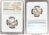 ATTICA. Athens. Ca. 440-404 BC. AR tetradrachm (24mm, 17.21 gm, 4h). NGC Choice XF 5/5 - 4/5, Full Crest. Mid-mass coinage issue. Head of Athena right...