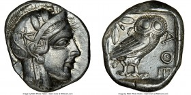 ATTICA. Athens. Ca. 440-404 BC. AR tetradrachm (24mm, 17.18 gm, 1h). NGC Choice 5/5 - 4/5. Mid-mass coinage issue. Head of Athena right, wearing crest...