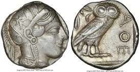 ATTICA. Athens. Ca. 440-404 BC. AR tetradrachm (23mm, 17.19 gm, 4h). NGC Choice XF 4/5 - 4/5. Mid-mass coinage issue. Head of Athena right, wearing cr...