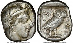 ATTICA. Athens. Ca. 440-404 BC. AR tetradrachm (24mm, 17.15 gm, 7h). NGC XF 4/5 - 4/5. Mid-mass coinage issue. Head of Athena right, wearing crested A...