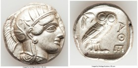 ATTICA. Athens. Ca. 440-404 BC. AR tetradrachm (25mm, 17.18 gm, 7h). AU. Mid-mass coinage issue. Head of Athena right, wearing crested Attic helmet or...