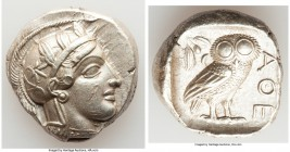 ATTICA. Athens. Ca. 440-404 BC. AR tetradrachm (25mm, 17.17 gm, 1h). Choice XF, scuff. Mid-mass coinage issue. Head of Athena right, wearing crested A...