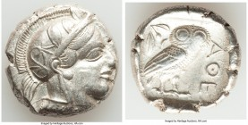 ATTICA. Athens. Ca. 440-404 BC. AR tetradrachm (25mm, 17.14 gm, 11h). About XF, Full Crest. Mid-mass coinage issue. Head of Athena right, wearing cres...