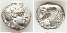 ATTICA. Athens. Ca. 440-404 BC. AR tetradrachm (24mm, 17.15 gm, 5h). VF, brushed. Mid-mass coinage issue. Head of Athena right, wearing crested Attic ...