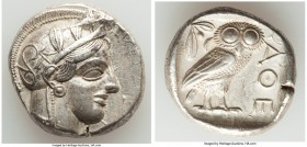 ATTICA. Athens. Ca. 440-404 BC. AR tetradrachm (24mm, 17.13 gm, 3h). Choice XF, light scuff. Mid-mass coinage issue. Head of Athena right, wearing cre...