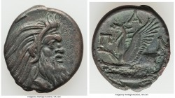 CIMMERIAN BOSPORUS. Panticapaeum. 4th century BC. AE (23mm, 6.86 gm, 12h). About XF. Head of bearded Pan right / Π-A-N, forepart of griffin left, stur...