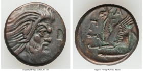CIMMERIAN BOSPORUS. Panticapaeum. 4th century BC. AE (21mm, 6.38 gm, 11h). VF, flan flaw. Head of bearded Pan right / Π-A-N, forepart of griffin left,...