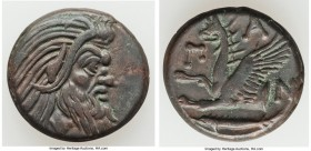 CIMMERIAN BOSPORUS. Panticapaeum. 4th century BC. AE (21mm, 6.97 gm, 11h). Choice VF. Head of bearded Pan right / Π-A-N, forepart of griffin left, stu...