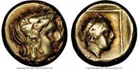 LESBOS. Mytilene. Ca. 377-326 BC. EL sixth-stater or hecte (10mm, 6h). NGC VF. Head of Dionysus right, wearing ivy wreath / Head of horned youthful ma...