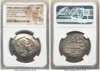 IONIA. Heraclea ad Latmun. Ca. 150-142 BC. AR tetradrachm (36mm, 16.23 gm, 12h). NGC MS 3/5 - 4/5, flan flaw. Head of Athena right, wearing crested At...