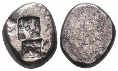 Kingdom of Lydia, Time of Kroisos, 560-546 BC. AR Double Siglos, very interestingly one side was blank struck  Condition: Very Fine  Weight: 11.00 gr ...