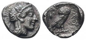 Attica, Athens AR Drachm. Circa 454-404 BC. Helmeted head of Athena right / Owl standing right, head facing; olive sprig and crescent behind; AQE in r...
