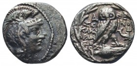 ATTICA, Athens. Circa 168/5-50 BC. AR New Style Drachm , Struck circa 91/90 BC. Xenokles and Harmoxenos, magistrates. Helmeted head of Athena right, w...