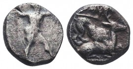 Cyprus, Kition AR Tetrobol. Azbaal or Baalmelek II, circa 449-400 BC. Herakles in fighting stance to right, wearing lion skin upon his back and tied a...