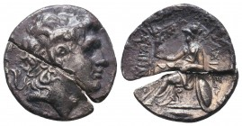 Kings of Thrace . Lysimachos (305-281 BC). AR Tetradrachm, lovely coin but cut in two pieces.  Condition: Very Fine  Weight: 17.00 gr Diameter: 30 mm