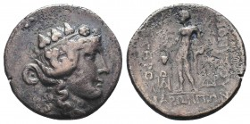 Maroneia , Thrace. AR Tetradrachm, c. late 2nd to early 1st Century BC. Obv. Head of Dionysos right, wearing ivy wreath. Rev. ΔIONYΣOY ΣΩTHPOΣ / MAPΩN...