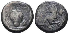 CILICIA, Soloi. Circa 425-400 BC. AR Stater . Amazon, kneeling left, wearing pointed cap and holding bow with both hands, quiver and bow-case hanging ...