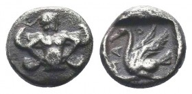 CILICIA, Mallos. Circa 425-385 BC. AR Obol . Beardless male, winged, in kneeling/running stance right, holding solar disk with both hands; sceptre to ...