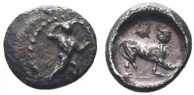 CYPRUS. Kition. Melekiathon (Circa 392/1-362 BC). Hemiobol. Obv: Herakles advancing right, wearing lion skin, holding bow and brandishing club. Rev: L...