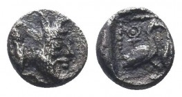 CILICIA, Mallos. Circa 425-385 BC. AR Obol . Forepart of man-headed bull right / Swan standing right; ankh symbol above, barley grain to right; all wi...