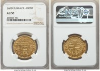 Pedro II gold 4000 Reis 1699-(R) AU53 NGC, Rio de Janeiro mint, KM98, LMB-31. Lightly circulated, satiny luster gripping the devices amidst gentle amb...