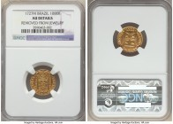 João V gold 1000 Reis 1727-M AU Details (Removed From Jewelry) NGC, Minas Gerais mint, KM113, LMB-235. Choice for the designation with lustrous fields...