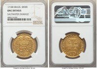 João V gold 4000 Reis 1718-R UNC Details (Saltwater Damage) NGC, Rio de Janeiro mint, KM102, LMB-170. A sharp offering displaying a characteristically...