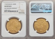João V gold 6400 Reis 1742-R AU Details (Saltwater Damage) NGC, Rio de Janeiro mint, KM149, LMB-217. A scarcer issue that seldom appears in any condit...