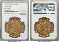 João V gold 12800 Reis 1731-M AU Details (Cleaned) NGC, Minas Gerais mint, KM139, LMB-287. A boldly struck example of this imposing gold type.   HID09...