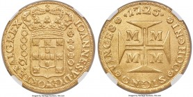 João V gold 20000 Reis 1725-M AU58 NGC, Minas Gerais mint, KM117, LMB-249. A glowing offering bearing light texturing from a strike with rusty dies, t...