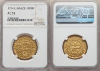 "Jose I gold 4000 Reis 1764-(L) AU55 NGC, Lisbon mint, KM171.2. ""Josephus Dominvs"" type. A bright pale-gold example with very light wear to the high po..."