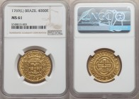 Jose I gold 4000 Reis 1769-(L) MS61 NGC, Lisbon mint, KM171.2, LMB-321. The finest we have seen of this date, and indeed the sole finest example grade...