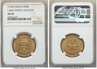 "Jose I gold 4000 Reis 1774-(L) AU58 NGC, Lisbon mint, KM171.2, LMB-324. Large Crown, ""JOSEPHUS DOMINVS"" variety. A pleasing specimen revealing only li..."