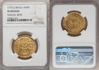 Jose I gold 4000 Reis 1777-(L) XF Details (Tooled, Bent) NGC, Lisbon mint, KM171.4. An attainable example of this classic gold type, slightly bent and...