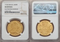 Jose I gold 6400 Reis 1752-R AU Details (Saltwater Damage) NGC, Rio de Janeiro mint, KM172.2, LMB-420. Even, matte-like surfaces that are likely the r...